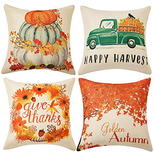 WLNUI Set of 4 Pillow Covers,Fall Cotton Linen Throw Pillow Covers,Maple Leaf Autumn Theme Decor Pillow Cushion Cases for Sofa, Couch, Bed and Car, 18x18 Inch 45x45 cm (Happy Harvest) (Outdoor Fall Cushions)