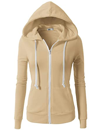 574c38ebb H2H Womens Active Regular Fit Zip up Long Sleeve Hoodie Jacket Beige XS  (CWOHOL020)