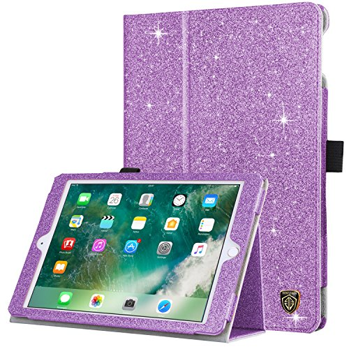 iPad 6th/ 5th Generation Case, BENTOBEN 9.7 inch Case for iPad 2018/2017 & iPad Air/Air 2 Glitter Folio Folding Stand Flip Slim Protective Auto Week/Up Smart Cover with Apple Pencil Holder, Purple