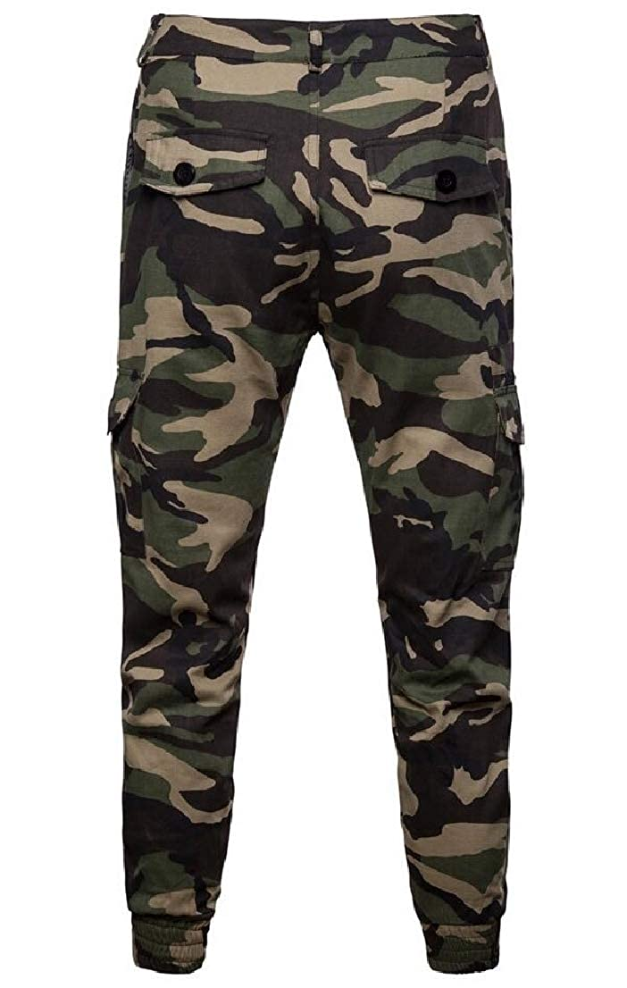 Generic Mens Running Slim Fit Multi-Pockets Work Cargo Camouflage Casual Jogger Pants