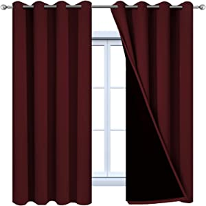 Yakamok 2 Thick Layers Completely Blackout Curtain Panels, Noise Reducing Drapes, Thermal Insulated Curtains with Black Liner for Bedroom(52Wx63L, Burgundy Red, 2 Panels)