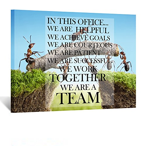 Kreative Arts Canvas Quotes Office Inspirational Sayings Words Wall Decor Teamwork Definition Motivational Quotes Ants Constructing Bridge Poster Prints Ready to Hang ()