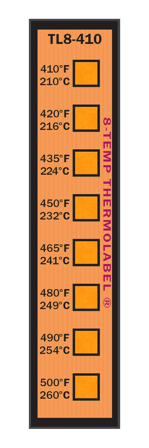 8-Temp Thermolabel 410-500°F Temperature Label for Metal Coating Powder Coating Pack of 16 Labels
