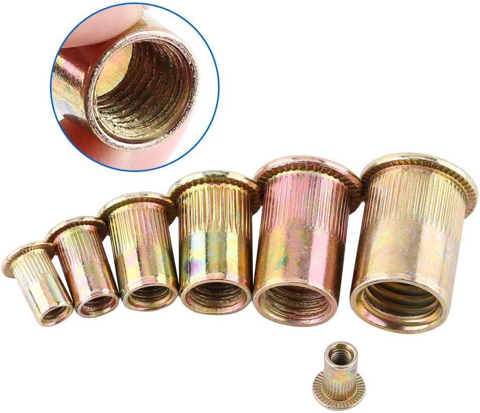 Remache de Cabeza Tuercas para Remachar Plato de Acero al Carbono con Cabeza Plana Inserto Roscado Nutsert Kits de Surtido de Tapas 165Piezas