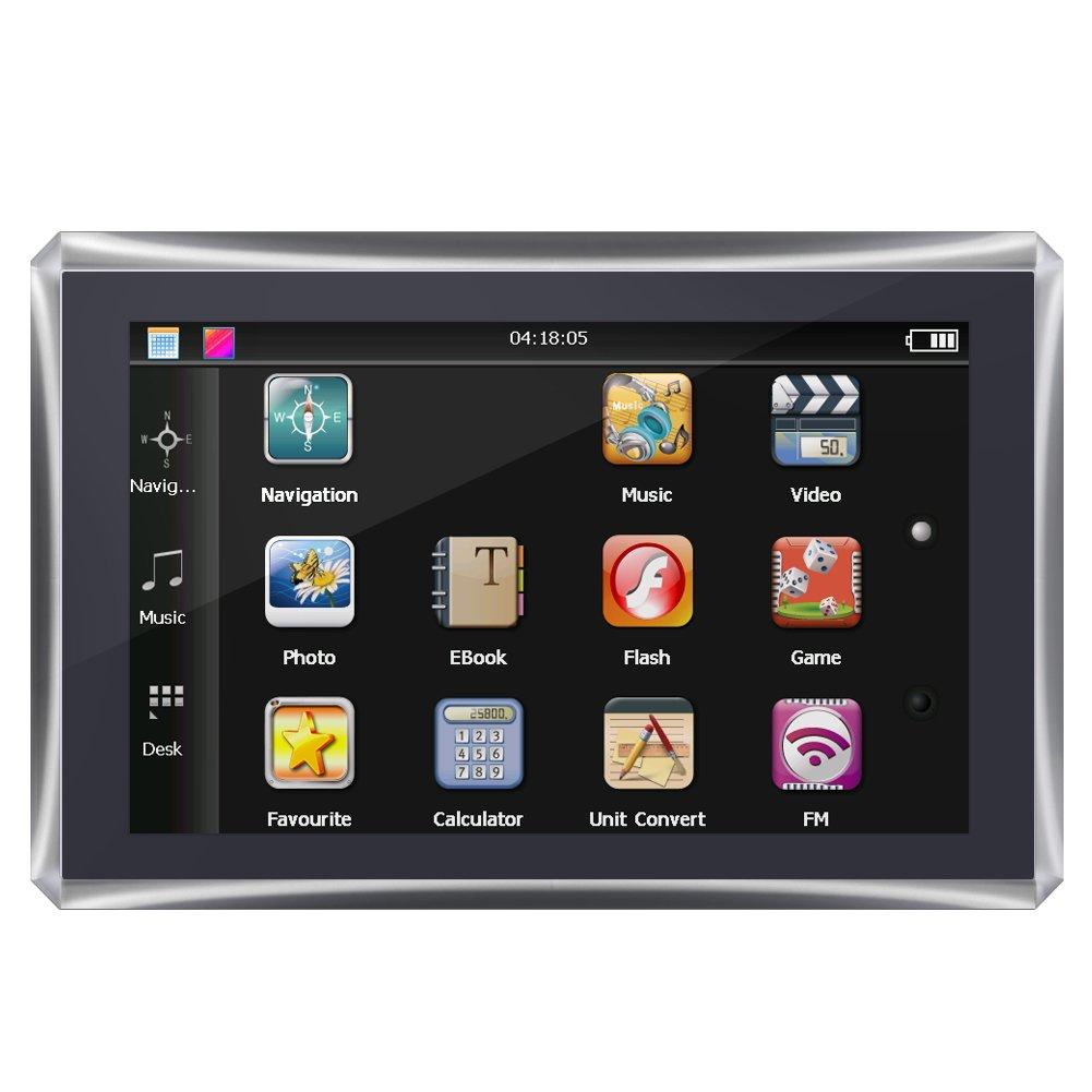 Qiilu 5 Pollici 128M 4GB FM GPS Navigatore Portatile dell'Automobile dello Schermo di Tocco con Mappa Libera(XL)