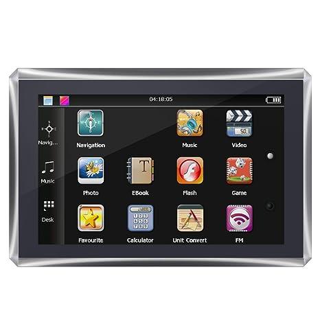 Qiilu 5 pulgadas de pantalla táctil Navegador de coche portátil de navegación GPS 128M 4 GB