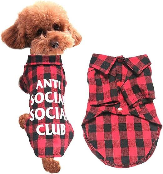 JOYIYUAN Ropa para Perros Primavera y Verano Camisa con Cuadros arenosos Camisa de Mascota Ocasional Camisetas de Perros Ropa Camisa de Mascota para Perros pequeños (Color : Red, Size : XL): Amazon.es: