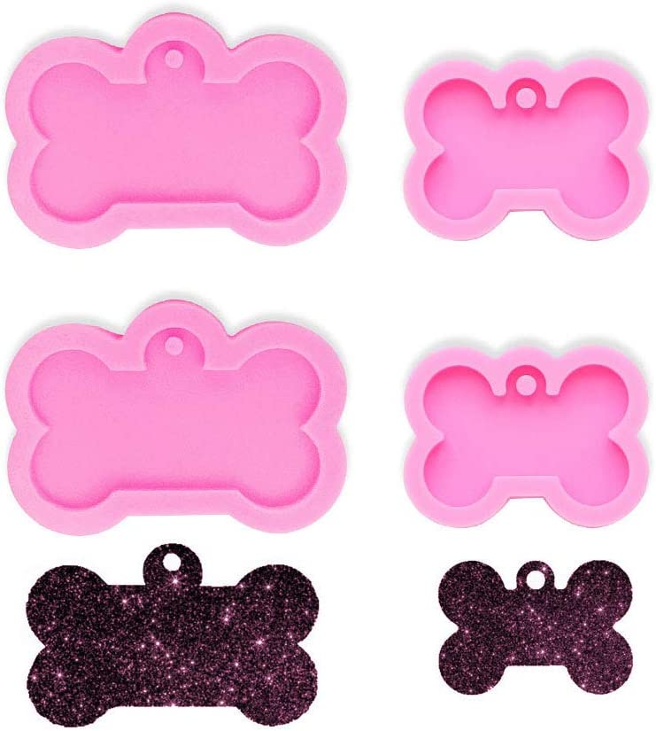 Xidmold 4 Pcs (2 xL, 2 xS) Dog Bone Shaped Silicone Mold Keychain Silicone Mold DIY Cupcake Topper Decoration Non-stick Baking Pan Ice Cream Tray for Homemade Chocolate Dessert Gummy Candy-Bone