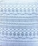 Nate & Nat 4 Piece Cotton Flannel Full Size Double Bed Sheet Set Gray Geometric Nordic Pattern Snowflakes Arrows Lines on White
