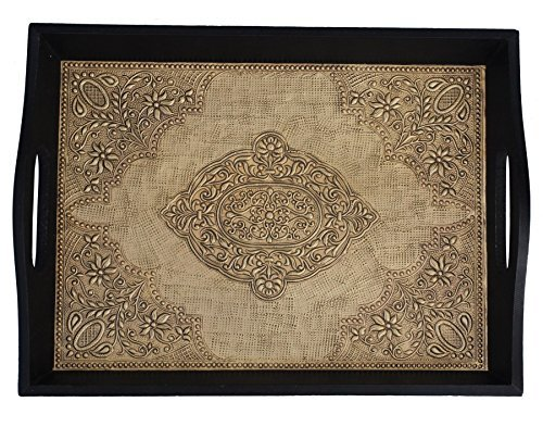 TRAY ON PRIME DEALS EXTENDED – 2017 – Antique Look Brass Decorated Wooden Handmade Service Tray With Handles for Bar, Tea, Coffee Lounge and Other Foo…