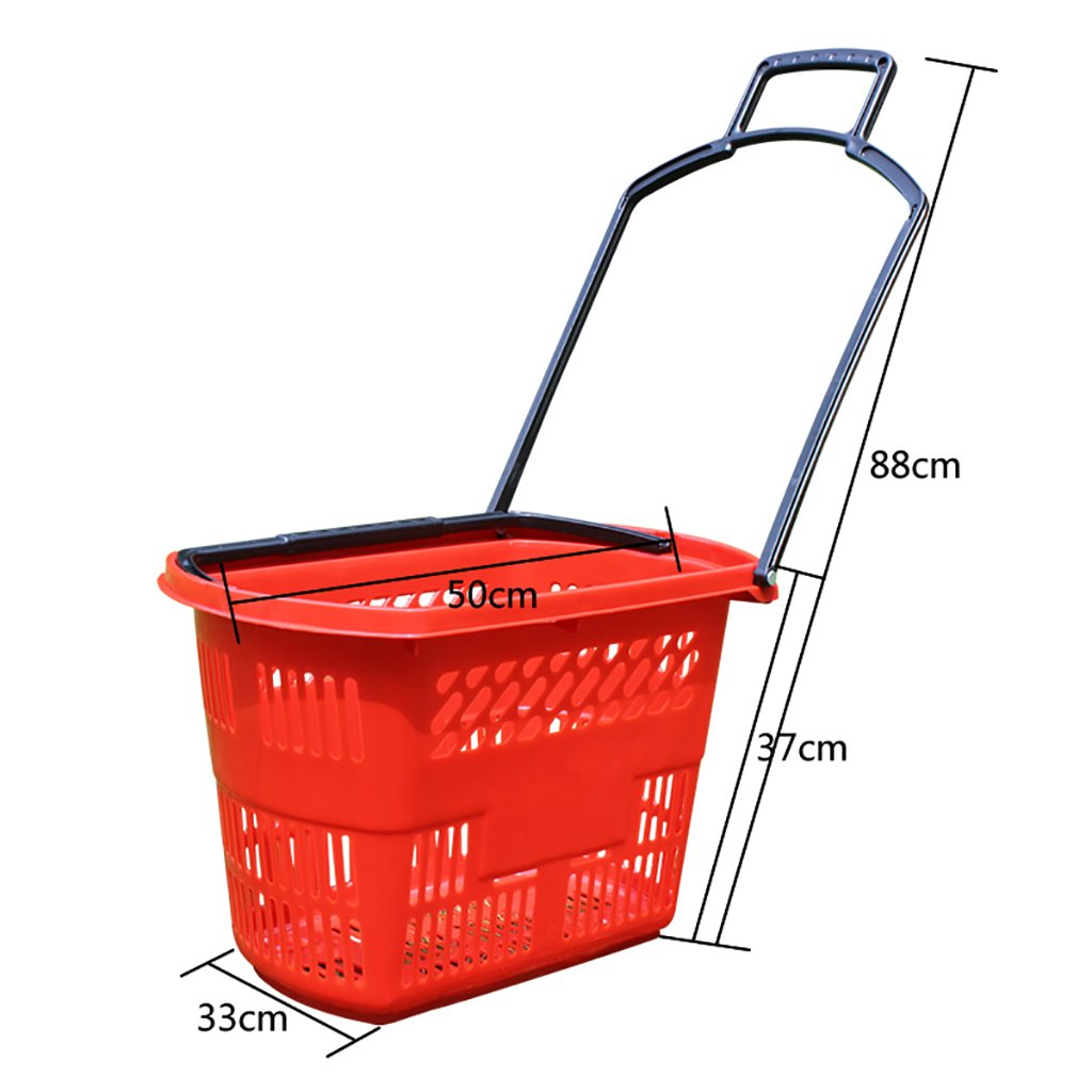 Kitchen storage rack Supermarket Shopping Basket Basket Four-wheel Drawer Plastic Basket To Buy Plastic Shopping Basket Convenience Store Shopping Basket Kitchen Dressers & Sideboards (Color : A) CHUF
