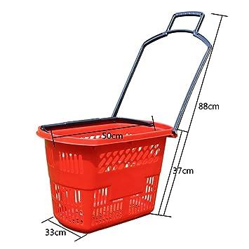 Supermercado Cesta de la Compra Cesta Cuatro Ruedas cajón Cesta de plástico para Comprar Cesta de