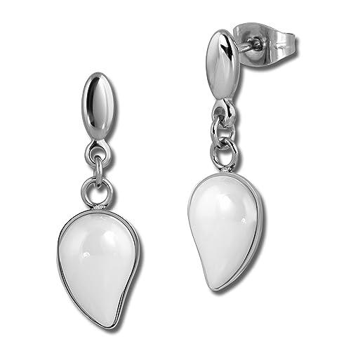 Amello Pendientes Gota de cerámica color blanco mujer acero inoxidable joyas esox45 W