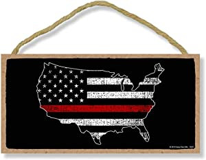 Honey Dew Gifts Firefighter Patriotic Signs, Thin Red Line American Flag Map 5 inch by 10 inch Hanging Wall Art, Decorative Wood Sign, American Flag Wall Decor