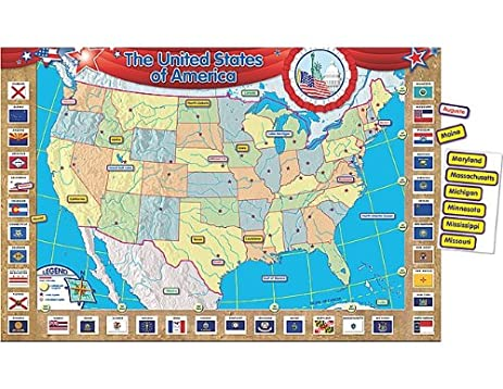 Amazon.com : Teacher Created Resources U.S. Map Bulletin Board ...