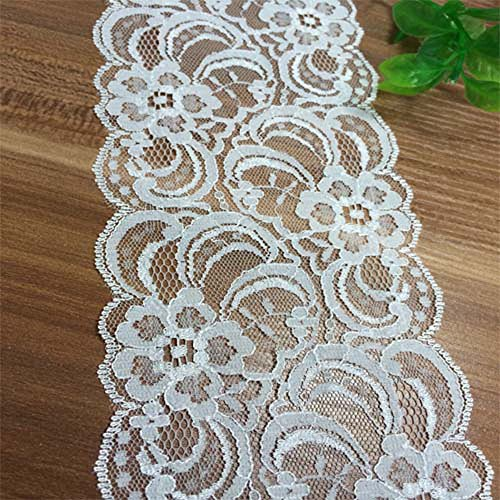 """10 yards 3-1/4"""" Wide White Polyester Floral Pattern Embroidery Lace Trimming"""