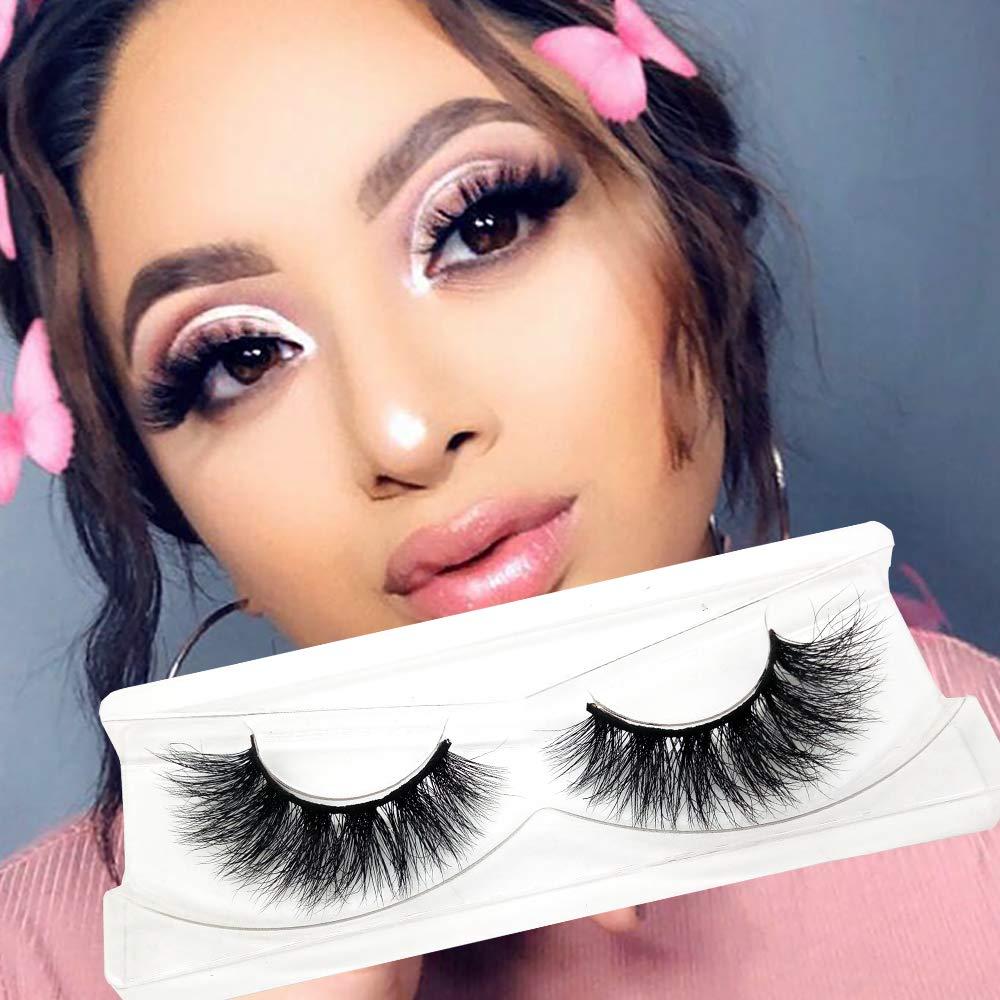 Fyonas Luxurious 3D Mink Eyelashes for Makeup 100% Handmade Reusable Wispy Lashes with Eyelash Tweezer F30