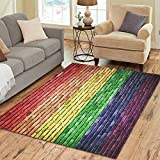 InterestPrint Area Rugs Rainbow Wall Area Rug Floor Cover For Living Room Dining Room Bedroom Place Mat 7×5 inch For Sale