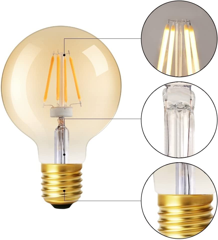 LED Filament Bulb G25 - E26 {2200K} {Gold Cover} for Replacement UL Listed Antique Edison Bulb Equivalent #2861 Dimmable { 4.8W }