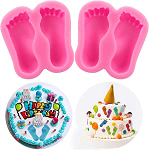 Meiyouju 2 Pcs Feet Silicone Molds for Soap,Footprint Molds for Chocolate,Food Grade Silicone Fondant Molds for Icing, Cake Decoration, Polymer Clay, Resin Mold, Epoxy