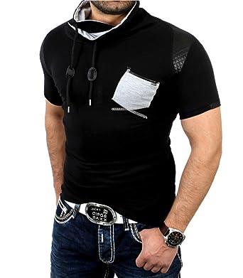 c5071a75ed80 ReRock - T-Shirt pour Homme Fashion T-Shirt 1-08 Noir - Noir  Amazon ...