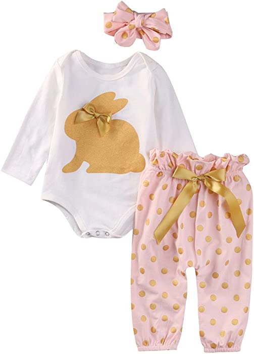 5fcef40c5 Lookvv Infant Baby Girl Eatser Outfit Toddler Spring Clothes 3pc Romper +  Pants + Headband 6