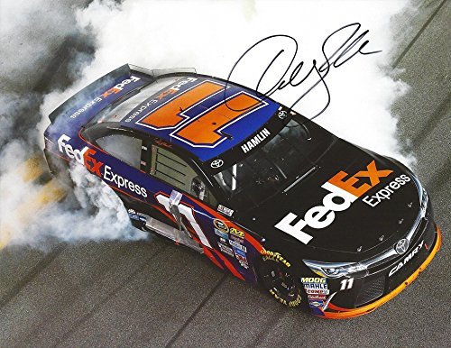 AUTOGRAPHED 2016 Denny Hamlin #11 FedEx Express Racing DAYTONA SPRINT UNLIMITED RACE WIN (Victory Burnout) Gibbs Team Signed Collectible Picture NASCAR 9X11 Inch Glossy Photo with (Fedex Racing)