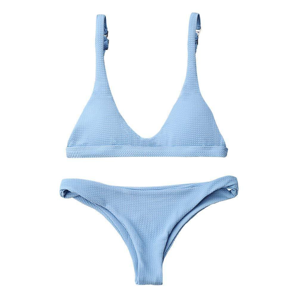 dddc084a4bd5 Amazon.com: ZAFUL Women Padded Scoop Neck 2 Pieces Push Up Swimsuit  Revealing Thong Bikinis V Bottom Style Brazilian Bottom Bra Sets: Clothing