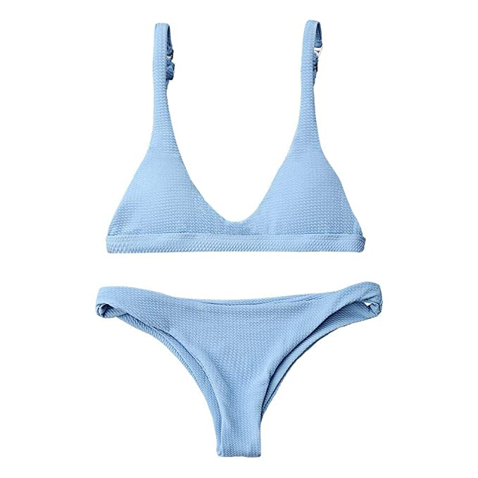 cc08c39695 Amazon.com: ZAFUL Women Padded Scoop Neck 2 Pieces Push Up Swimsuit  Revealing Thong Bikinis V Bottom Style Brazilian Bottom Bra Sets: Clothing