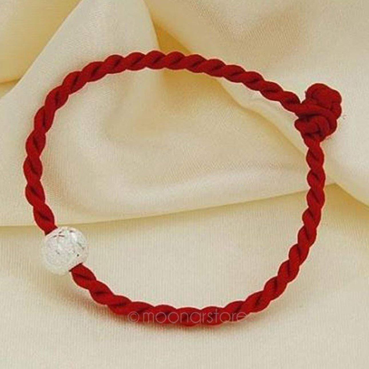 Pudincoco Chinois Feng Shui Chanceux Corde Corde Rouge Pi/èces tiss/ées /à la Main avec Perles dargent Corde tricot/ée Rouge Bracelet de Mode Simple