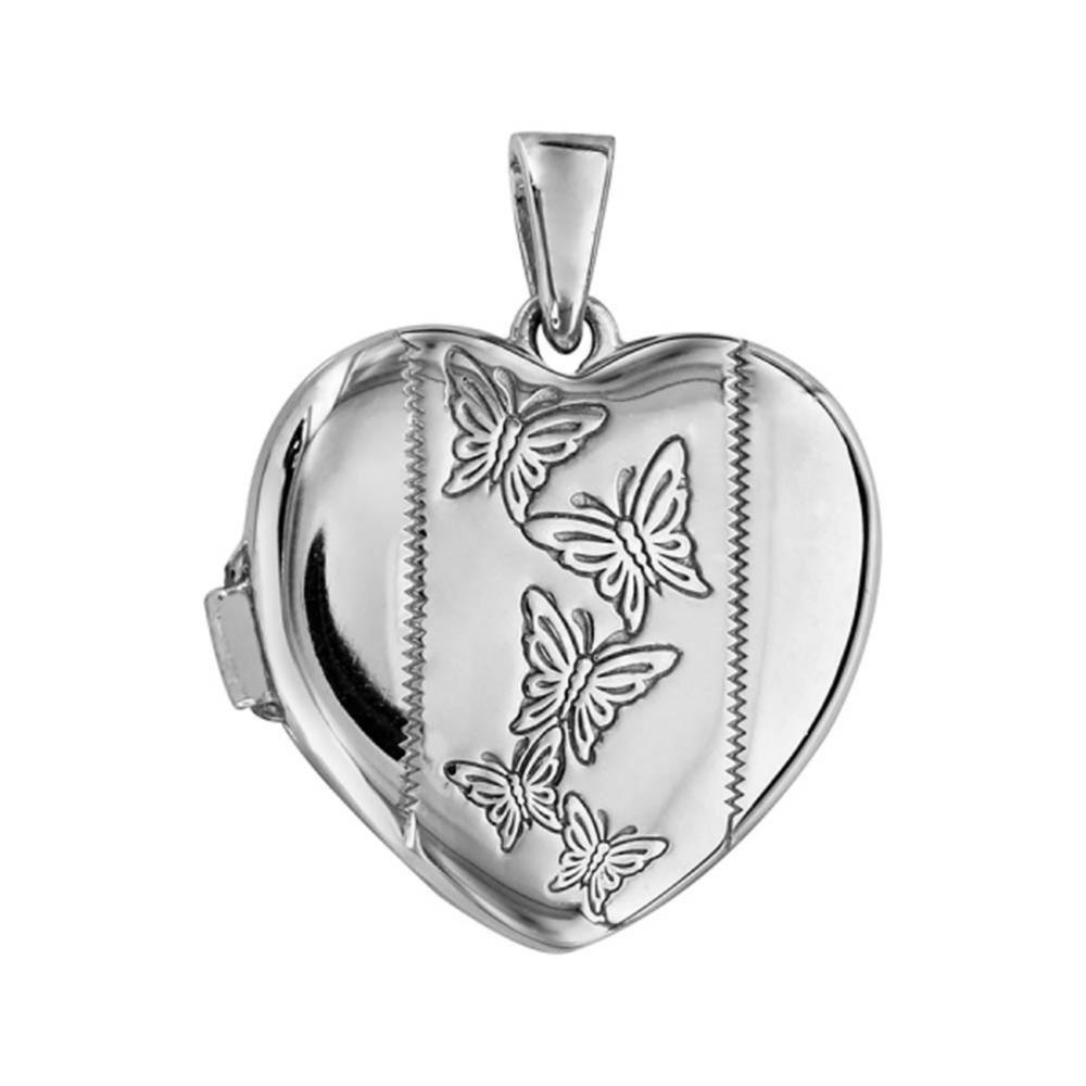 Pendentif Argent 925 Cassolette Coeur Motif Papillons Bijoux Laperledargent