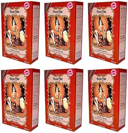 6 x 100 g Henna color natural – Tinte para el cabello polvo Color Certificado Castaño Marrón – 6