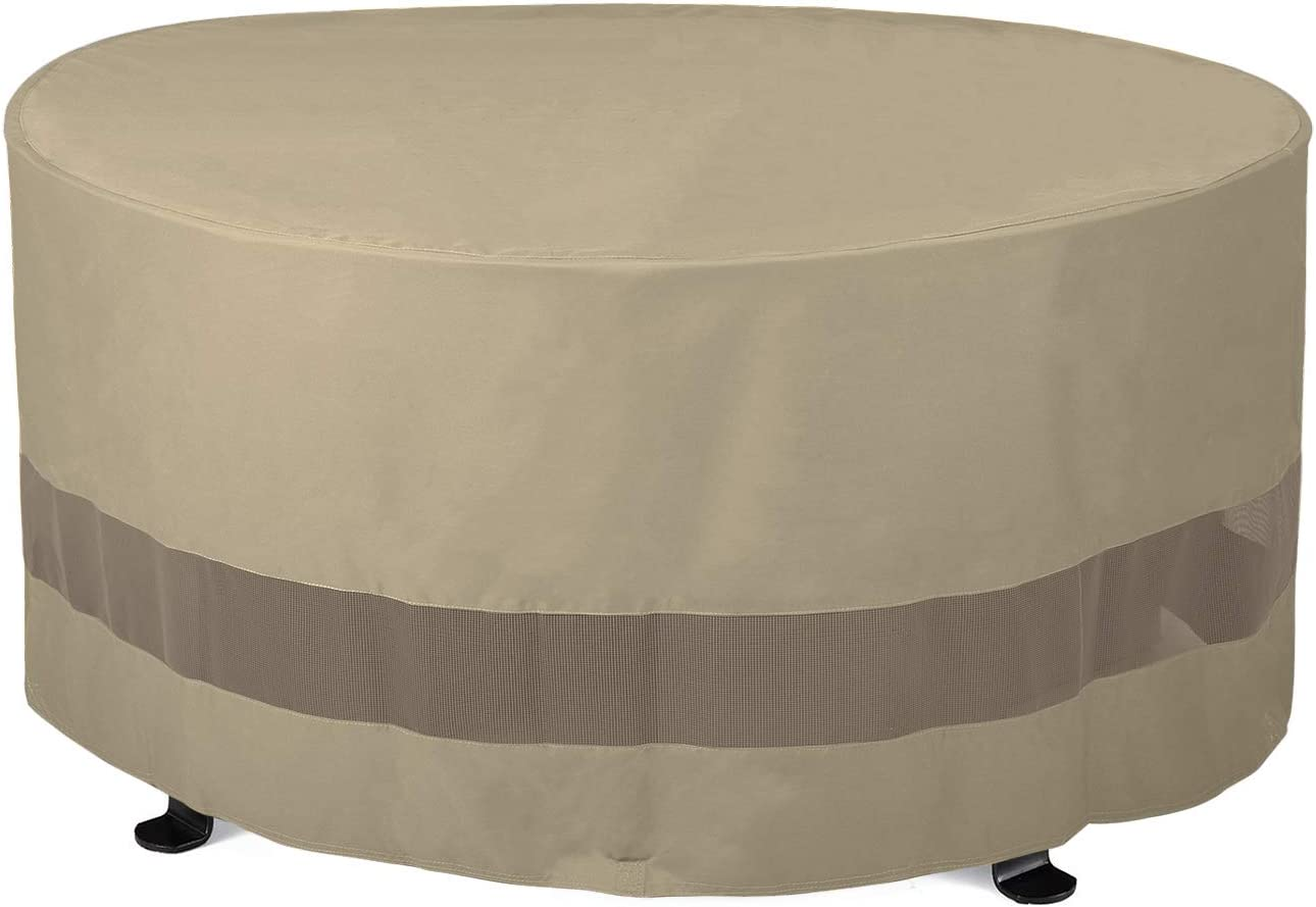 "B01F8PJRUA SunPatio Outdoor Fire Pit Cover, Patio Ottoman Cover, Round Table Cover 50""Dia x 24""H, Water Resistant, Lightweight Patio Furniture Cover with Mesh Air Vents and Closure Straps, Neutral Taupe 61KLmHoNX3L"