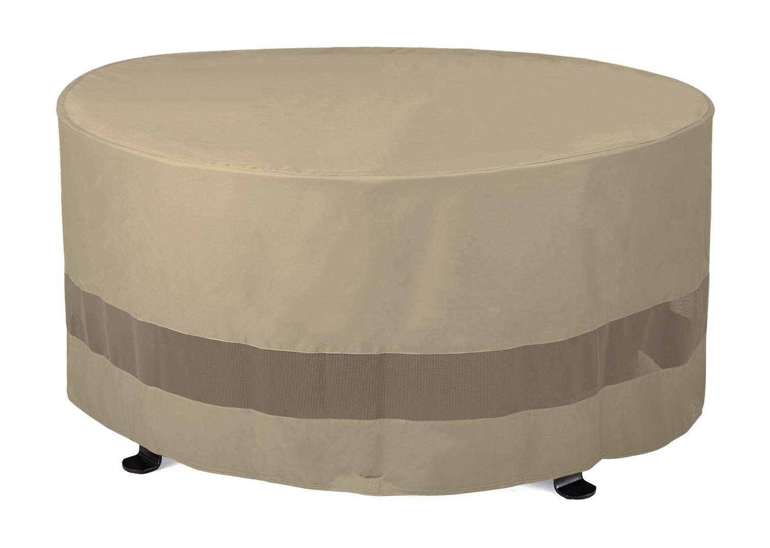 """SunPatio Outdoor Fire Pit Cover, Patio Ottoman Cover, Round Table Cover 50""""Dia x 24""""H, Water Resistant, Lightweight, Eco-Friendly Furniture Cover with Velcro Ties and Mesh Air Vents, Neutral Taupe"""