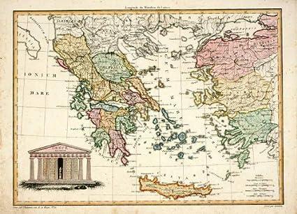Cartina Della Grecia Antica In Italiano.Theprintscollector Mappa Antica Grecia Chamouin 1812 Amazon It Casa E Cucina