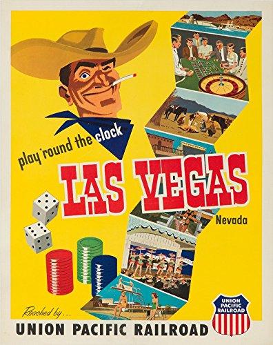 Union Pacific - Las Vegas, Nevada USA c. 1952 - Vintage Poster (12x18 Art Print, Wall Decor Travel Poster)