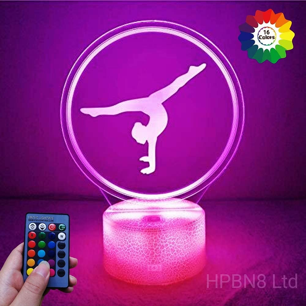 Creative Artistic Gymnastics 3D Night Light USB Powered Touch Switch Remote Control LED Decor Optical Illusion 3D Lamp 7/16 Colors Changing Xmas Brithday Children Kids Toy Christmas Gift