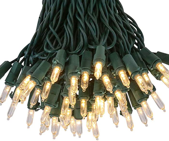 Kicko Christmas Light - 100 Count Clear Incandescent Light on Green Wire for Christmas Tree, Indoor and Outdoor Party or Holiday Decors - UL Listed
