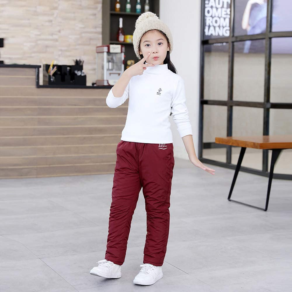Toddler Baby Boys Girls Winter Pants Clothes 1-7 Years Old Kids Solid Letter Thick Warm Casual Trousers Bottoms