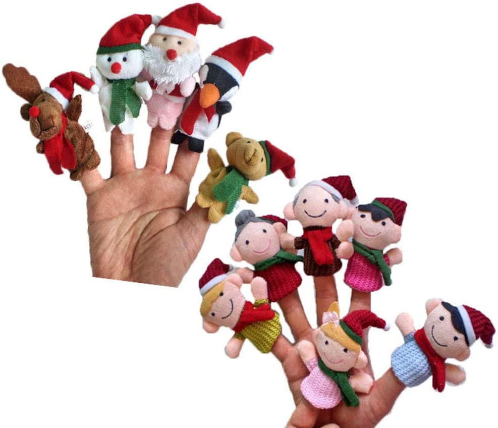 Toyvian 11pcs Peluche Finger Puppet Toys Christmas Finger Puppets Bambole Giocattoli a Mano Santa Family for Kids Babies Talking Story