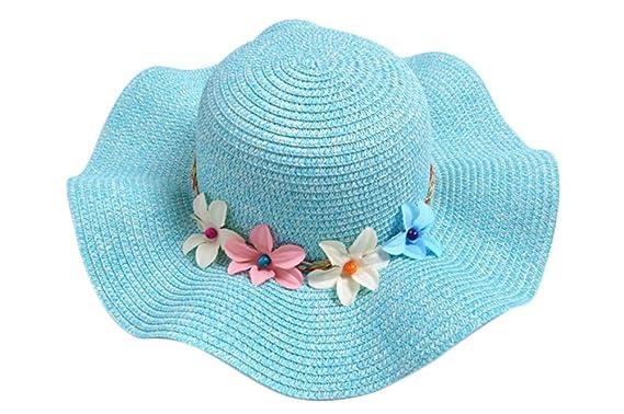 Leisial Children Girls  Sun Hat Summer Cool Hat Elegant Wave Brim and  Wreath Decoration Design 1c37f2a7bd3b