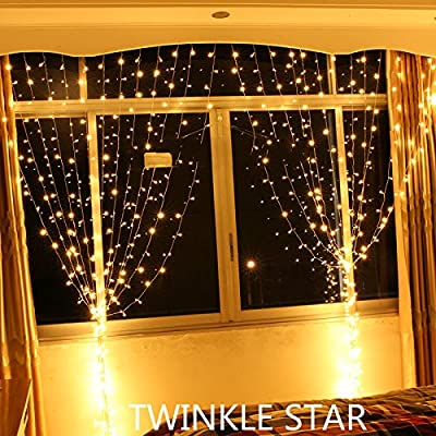 Twinkle Star 300led Window Curtain String Light Christmas,Wedding Party Home Garden Bedroom outdoor indoor wall Decorations 9.8ft (Warm White)