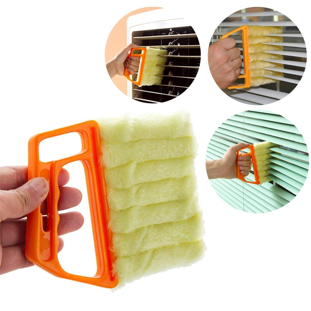 Rishx Shutters Cleaner Brush,Venetian Blind Window Cleaning With Removable Brush Head Mini Washable Microfiber Duster for Window Shutters Air Conditioner