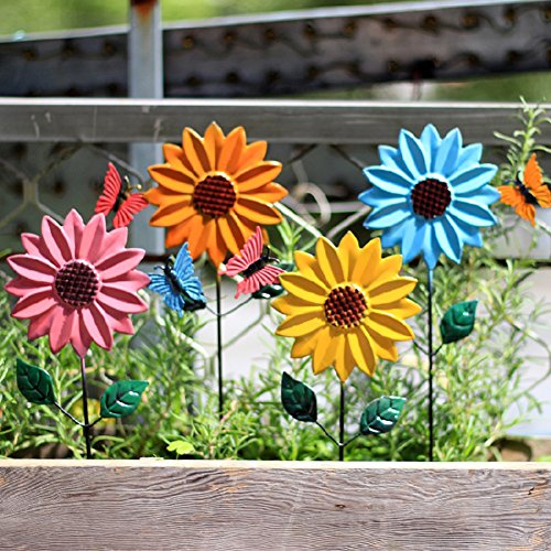 Sungmor 4-color Pack Anti-rust Iron Decorative Sunflower Stakes for Garden Backyard Patio Yard Outdoor Planter Party Decorations - Rust Sunflower