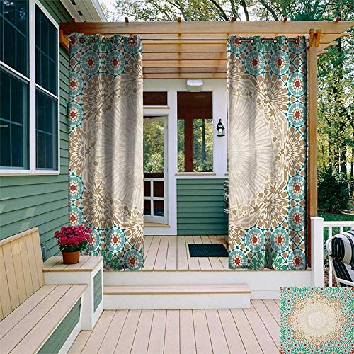 leinuoyi Moroccan, Outdoor Curtain Modern, Ottoman Mosaic Art Pattern with Oriental Floral Forms Antique Scroll Ceramic Boho Print, Fabric W72 x L108 Inch Multi