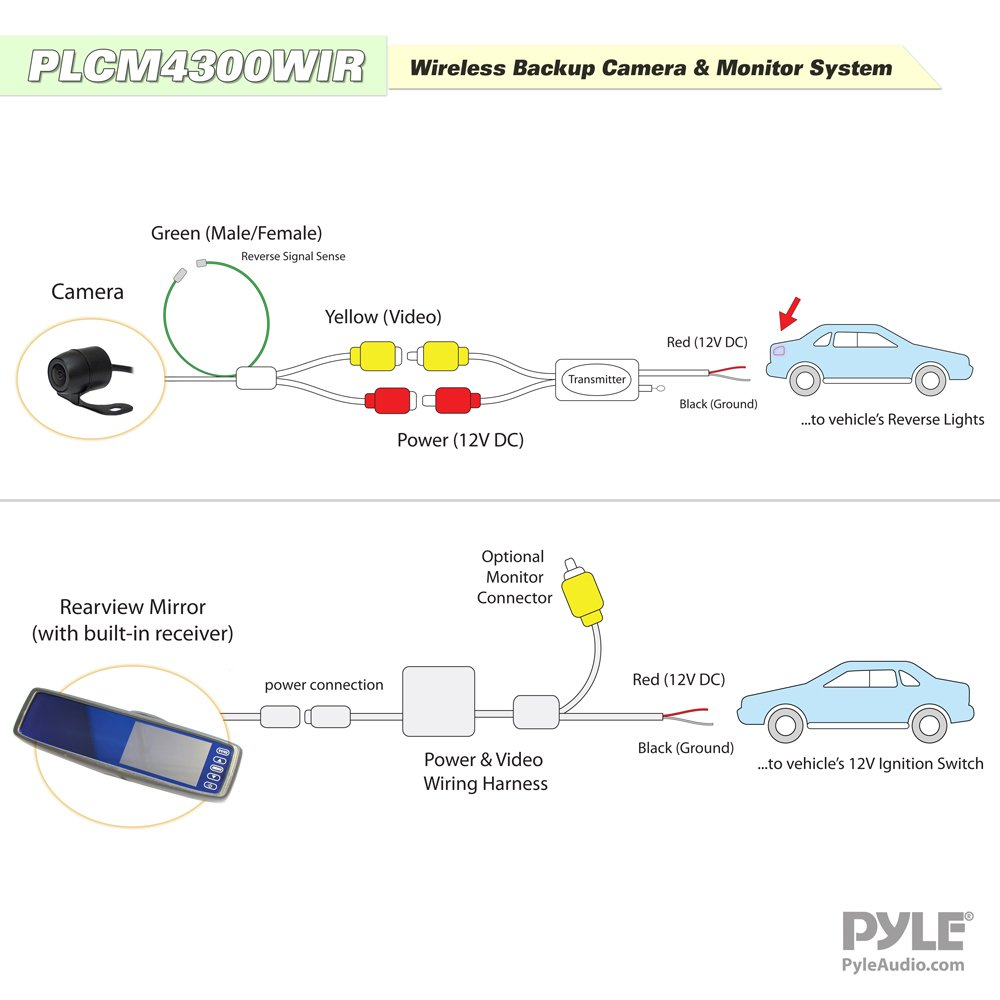 61KLoB46xFL._SL1000_ amazon com pyle wireless backup car camera rearview mirror pyle backup camera wiring diagram at gsmportal.co