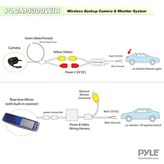 Amazon.com Pyle Wireless Backup Car Camera Rearview Mirror Monitor System - Parking u0026 Reverse Safety Distance Scale Lines Waterproof u0026 Night Vision Cam ...  sc 1 st  Amazon.com : backup camera wiring - yogabreezes.com