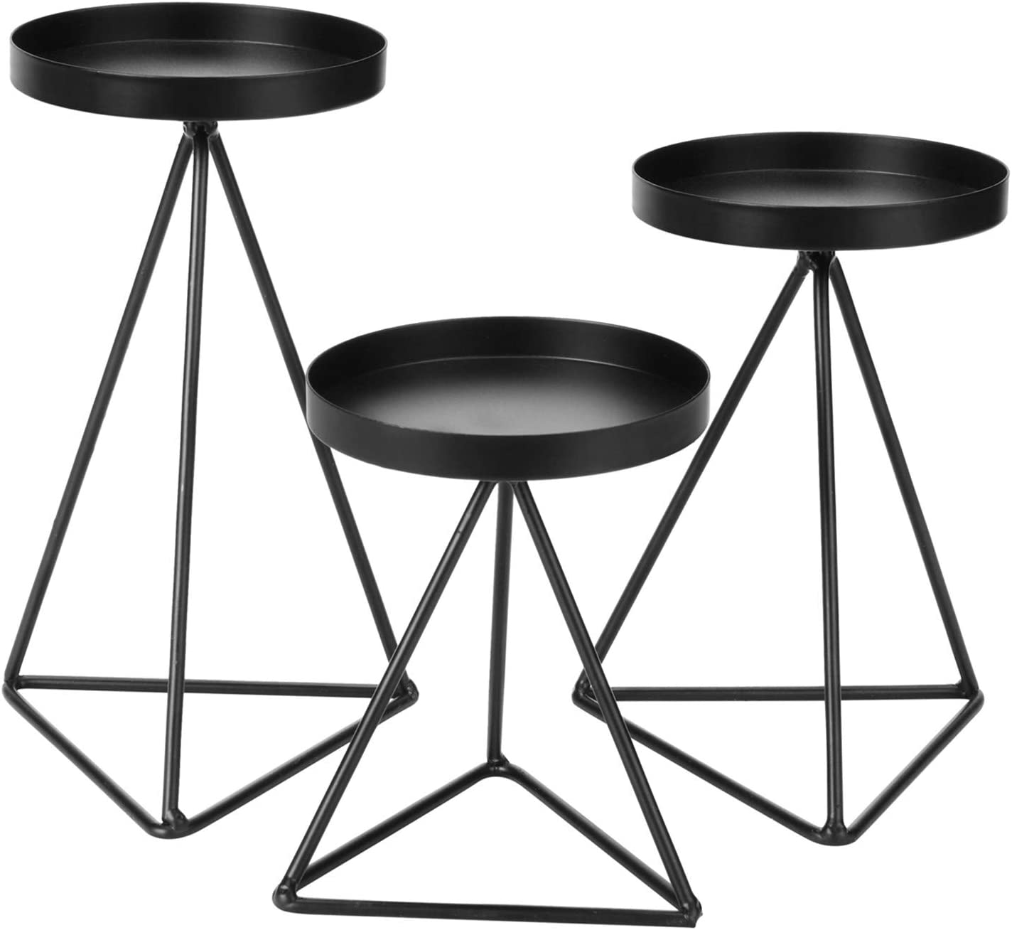 LACGO Set of 3 Geometric Metal Candle Holder for Pillar Candle, 3.5