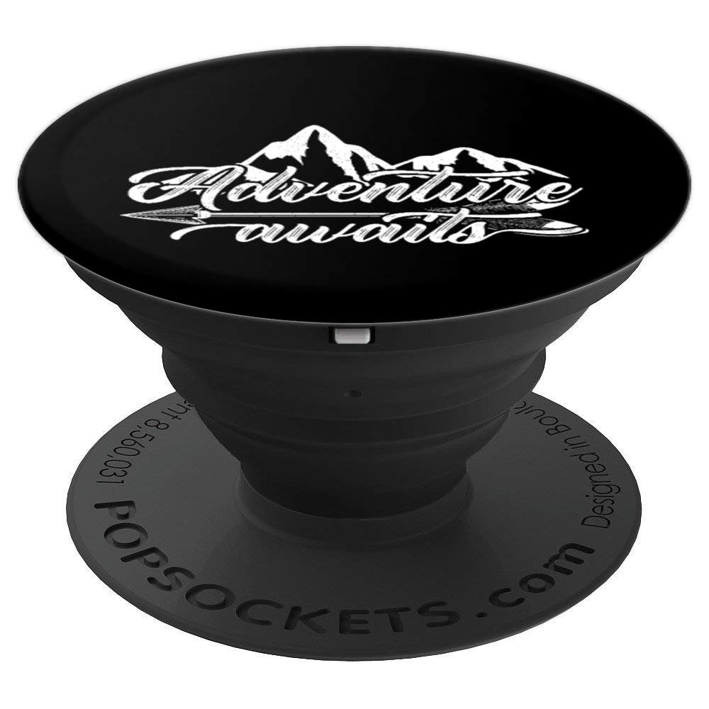 Adventure Awaits Gift RV Camping Outdoor Travel - PopSockets Grip and Stand for Phones and Tablets