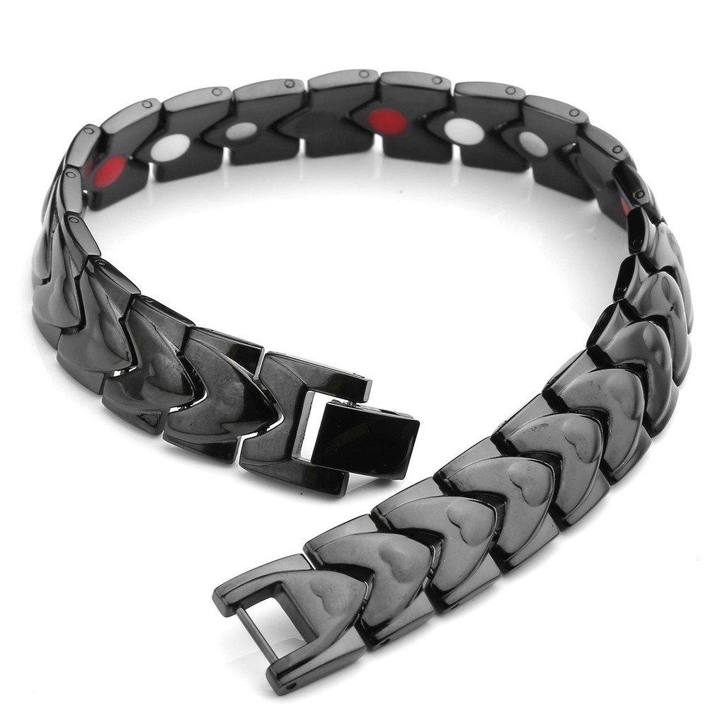 JOVIVI Magnetschmuck Magnetarmband Herren Gesundhheit Edelstahl Magnetisch Therapie Armreif 4-in-1 Magnete Pfeil Herz Armband Schwarz
